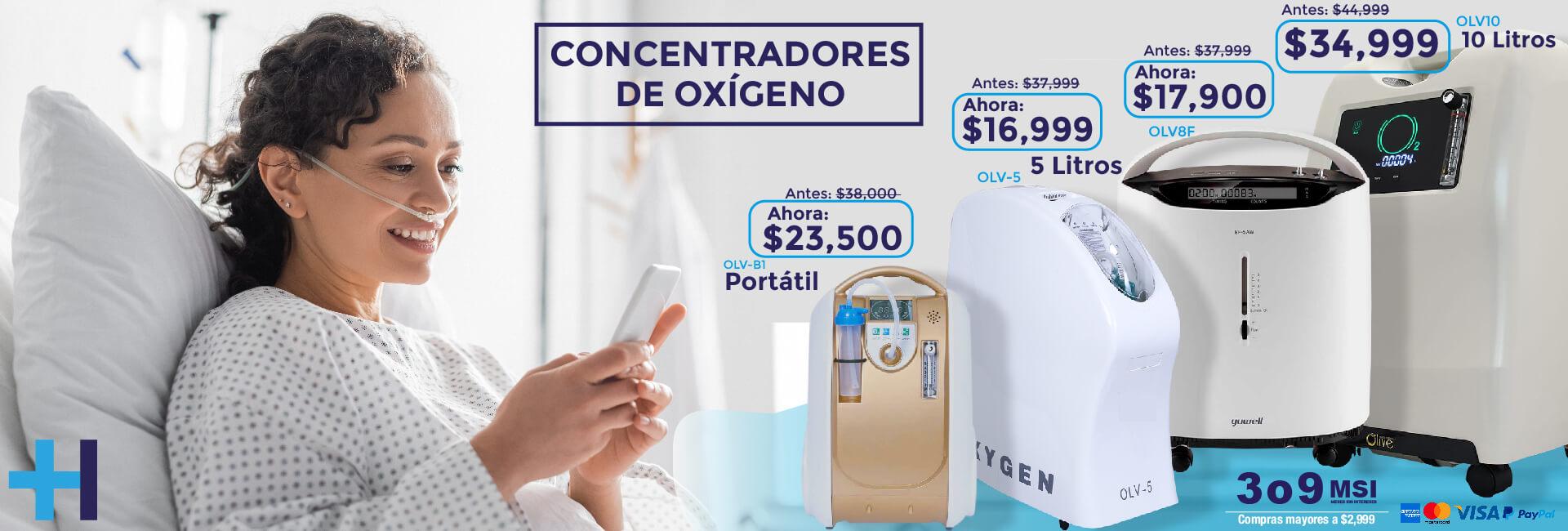 Concentradores de oxígeno de 5 y 10 litros